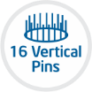 16 vertical pins